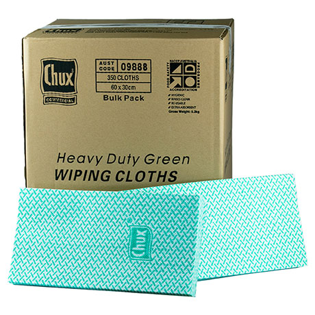 Chux® Wiping Cloths HD Green 60x30cm Box350