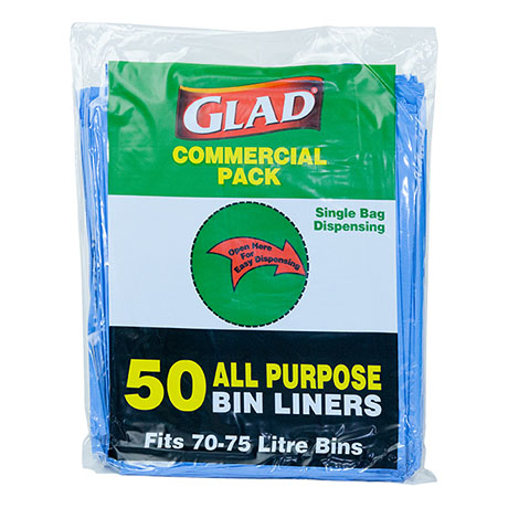 Glad® All Purpose Bin Liner 70-75L Blue Pk50