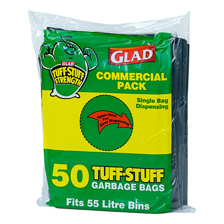 Glad® Tuff Stuff® Garbage Bag 55L Pk50