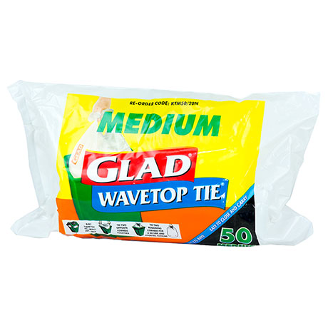 Glad® Wavetop Tie® Tidy Bags Roll Medium Pk50