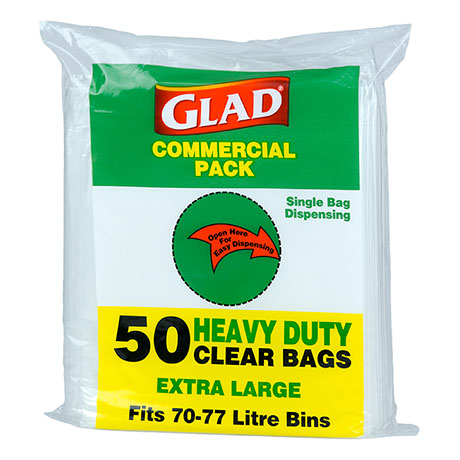 Glad® Heavy Duty Bin Liners XLarge 70-77L Clear Pk50