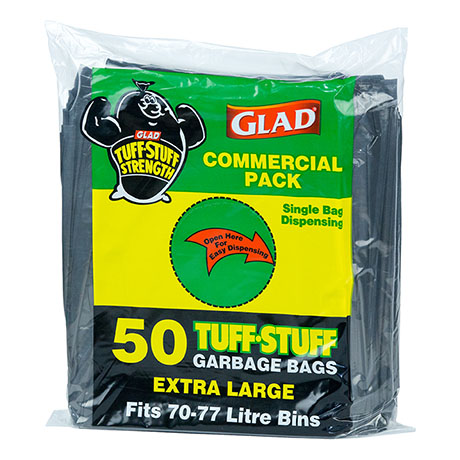 Glad® Tuff Stuff® Garbage Bag XLarge 70-77L Pk50
